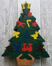Christmas Tree Wooden Jigsaw Puzzle Vintage Homemade Unique Gift