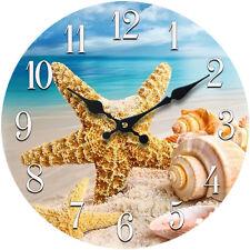 "Glass Wall Clock Shell 13""X 13"" Home Wall Decor Coastal Nautical Beach New"