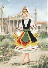 Athinae by Isabel Silk Embroidered Vintage Postcard