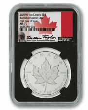 2020 W 1oz Canada $5 Burnished Silver Maple Leaf NGC MS70 FDOI Taylor Signature