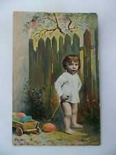 Antique Easter Postcard Little Boy w/ Chubby Legs & Wagon of Eggs Vintage 1900s
