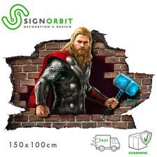 Adesivo parete murale effetto 3D Marvel supereroe Thor wall stickers