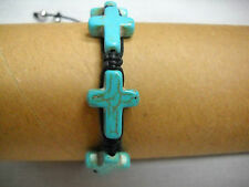 NEW TURQUOISE BLUE HOWLITE 4 CROSS on BLACK WEAVE MACRAME ADJ BRACELET OR ANKLET