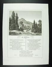 Le héron Fables Jean de La Fontaine 1834 gravure print XIXth