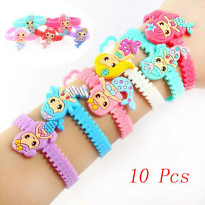 10pcs Mermaid Party Rubber Bangle Bracelet Birthday Party Decorations For Kids