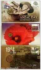 3 x AUSTRALIAN COIN & STAMP ANZAC DAY PNC $2 REMEMBRANCE DAY COIN BNIP WAR PNC