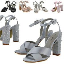 Zapatos De Fiesta Sandalias de mujer con tiras Diamante señoras TALÓN NUPCIAL Satén Tira al Tobillo