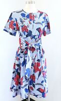 Brooks Brothers Blue Red Floral Striped Tie Waist A Line Shirt Dress Size 8