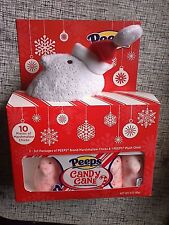 Peeps Candy Cane Plush Chick w/ 10 Peeps Candy Cane Flavored Chicks Gift Set