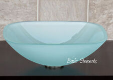 Bathroom Glass Vessel Sink Frosted Square + ***Free Pop Up Drain*** TS12F