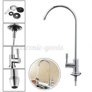 360° 1/4'' RO Reverse Osmosis Filter Water Faucet Kitchen Chrome Goose Neck US