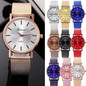 Fashion Women's Watch Stainless Steel Quartz Analog PU Mesh Band Wrist Watches