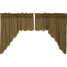 Barrington Plaid Check Swag Scalloped Lined Set of 2 by VHC Brands