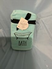 Rae Dunn Bath Tub Hand Towels Blue w/ Black Embroidery Set of 2 Nwt