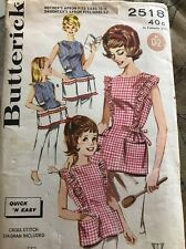 Butterick Craft Pattern, Vintage, Apron, Mother, Mommy Daughter, Uncut, 1960's