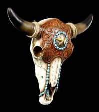 Wandrelief - Rinderschädel mit Indianerschmuck - Fantasy Western Bullenschädel