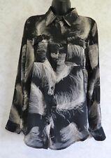 Premise Studio Ladies Blouse Black Gray White Feathers Long Sleeve Polyester 8