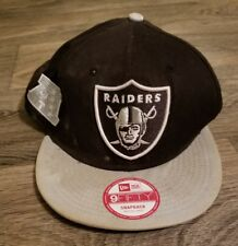 NEW ERA NFL Oakland Raiders Football Snap back Hat Black White Silver
