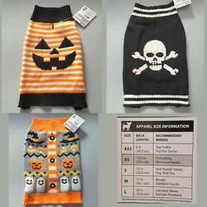 Halloween Themed Dog Sweater Knitted Jumper Spooky Outfit Costume Pumpkin Skull