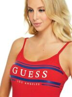 GUESS BODYSUIT Womens Red Sleeveless Logo Stretch Top Size M NWT