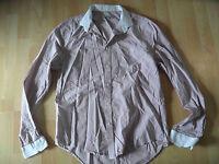 DRYKORN gestreiftes Herrenhemd mit weißem Kragen dunkelrosa weiß Gr. XL TOP  816