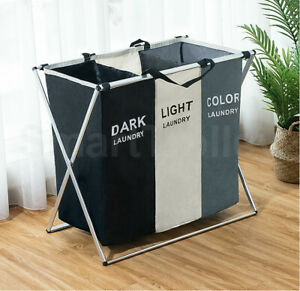 1/2/3 Section Hamper Sorter Dark Light Folding Laundry Washing Basket Bag