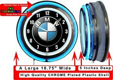 "BMW 19/"" Blue Neon Clock Man cave Garage Carbon Fiber Look Bavarian Motor Works"