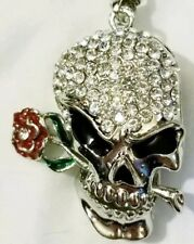 Fashion Jewelry Crystal Enamel Rose Flower Skull Head Pendant Necklace CLEARANCE