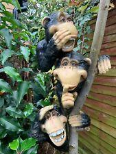 More details for peeking monkey ape garden ornament hanging tree hugger hear see speak no evil