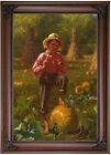 Brown That's me pumpkin 1874 Wood Framed Canvas Print Repro 12x18