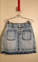 SO Juniors 9 Jean Mini Skirt Distressed Stonewashed Pockets Raw Fringe Hem NWOT