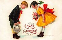 Valentine Clapsaddle art Postcard Boy and Girl Bowing at Each Other~120925