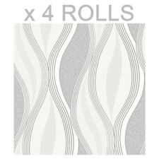 Grey Glitter Waves Wallpaper Silver White Quality Textured Vinyl Feature x 4