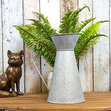 26cm Jug Grey Enamel Shabby Chic Retro Vase Flower Pot Wedding Centre Piece