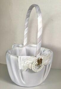 Western Wedding Flower Basket, White Lariat with Gold Tone Cowboy Boots