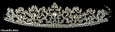 Tiara Silver Metal & Rhinestone Delicate Princess Or Debutante Costume Headpiece