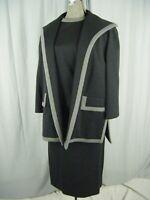 LILLI ANN KNITS LONDON Vtg 60s Charcoal Grey Wool 3 pcs Skirt-Bust 35/Waist 28/S