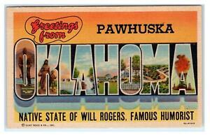 PAWHUSKA, OK  ~ LARGE LETTER LINEN 1960 Curt Teich Osage County Postcard