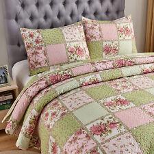 3 Pcs King Floral Bedspread Pink Patchwork Quilt Set Bedding Sheet Set