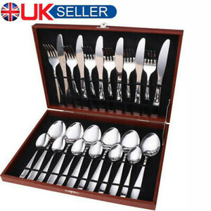 Red Boxed High Quality Brushed Stainless Steel 24 Piece Cutlery Set Fork Spoons