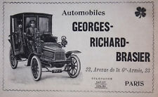 PUBLICITÉ DE PRESSE 1903 AUTOMOBILES GEORGES RICHARD BRASIER - ADVERTISING