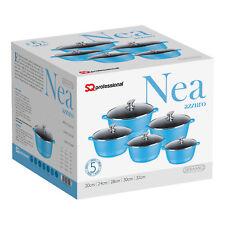 5pc Nonstick Die Cast Aluminium Casserole Stockpot Induction Pan Set Blue Nea