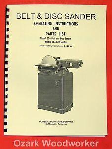 POWERMATIC 30 and 33 Sander Operator's & Parts Manual 0545