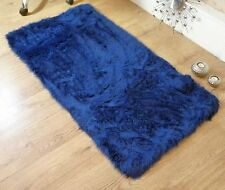 Royal Blue Navy Faux Fur Sheepskin Style Oblong Rug 70 x 140cm Washable