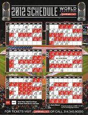 St Louis Cardinals--2012 Large Sheet Schedule