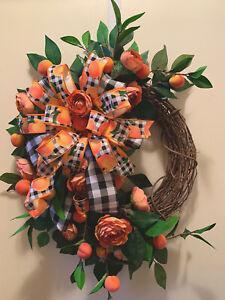 Peach Wreath, Home Decor, House Gift, Peach Decor