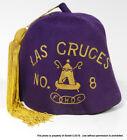 VINTAGE SHRINERS Purple FEZ HAT W/ GOLD TASSEL Las Cruces MASONIC Ward Co. for sale