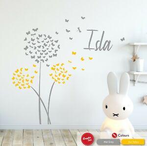 Butterflies & Dandelion Flower Wall Decal Custom Name Childrens Wall Art Sticker