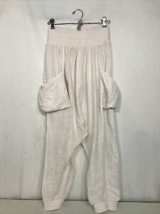 Women's Cream Color Free People Drop Crotch Pants-Size S