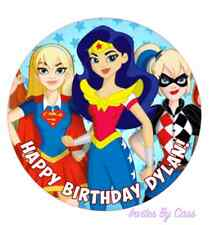 DC SUPERHERO GIRLS ROUND 7 INCH EDIBLE IMAGE CAKE TOPPER BIRTHDAY PARTY KIDS